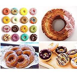 Lesirit 12-Cavity Mini Non Stick Donut Pan Baking Mold Carbon Steel DIY Cake Pan