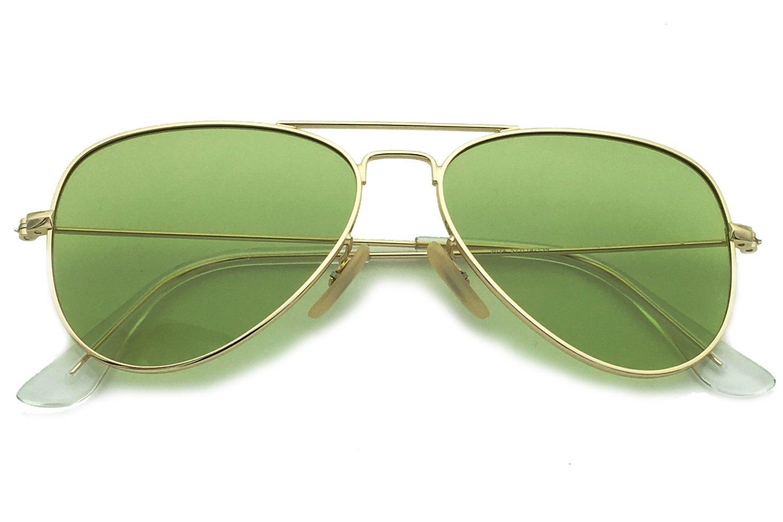 YuFalling Polarized Aviator Sunglasses for Men and Women (gold frame/ocean green lens, 58)
