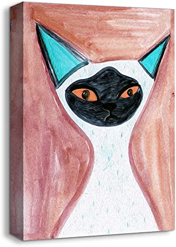 NWT Canvas Wall Art Abstract Cat Painting Artwork