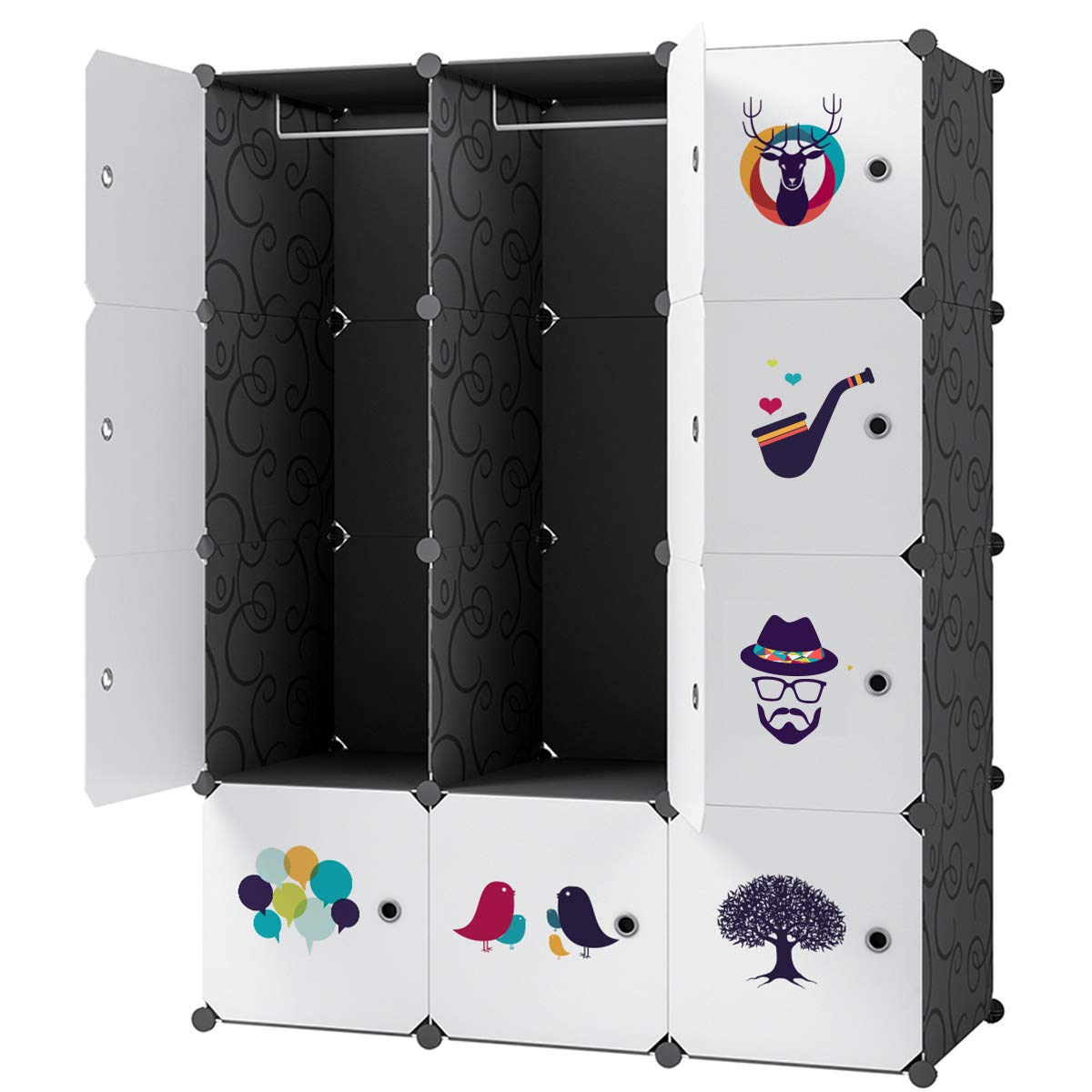 KOUSI Portable Wardrobe Closet for Bedroom Clothes Armoire Dresser Multi-Use Cube Storage Organizer (6 Cubes+2 Hanging Sections(Black))