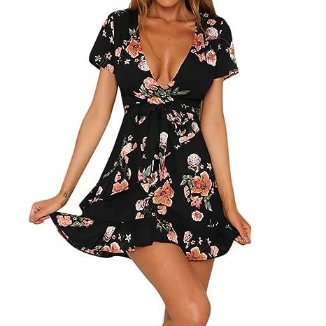 Yesmile 💋💝Vestido de Mujer Falda Negro Vestido Elegante de Noche para Boda Fista Vacaciones
