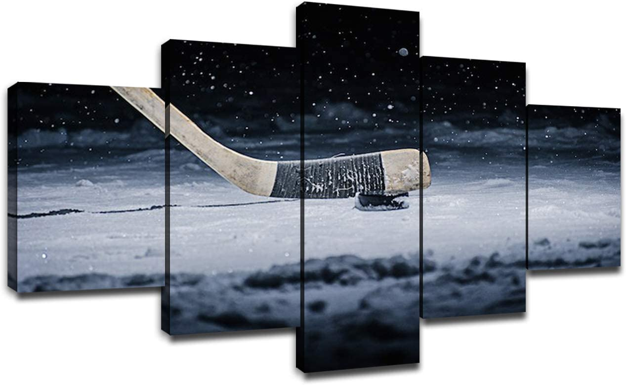 Ice Hockey Poster Wall Decor for Living Room Painting 5 Piece Canvas Stick and BallPrints Wall Art Picture Modern Decoration for Home Poster with Frame Ready to Hang(60''Wx32''H)