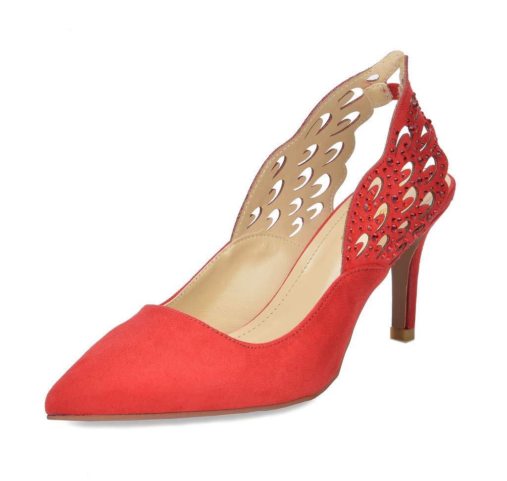 DREAM PAIRS Women's Wings RED Slingback Kitten Heel