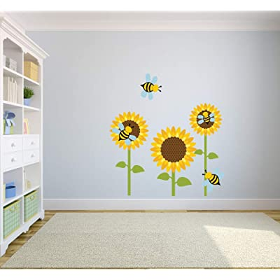 Bumblebee Bee Bees Sunflowers Animal Decors Wall Sticker Art Design Decal for Girls Boys Kids Room Bedroom Nursery Kindergarten House Fun Home Decor Stickers Wall Art Vinyl Decoration (20x12 inch): Baby