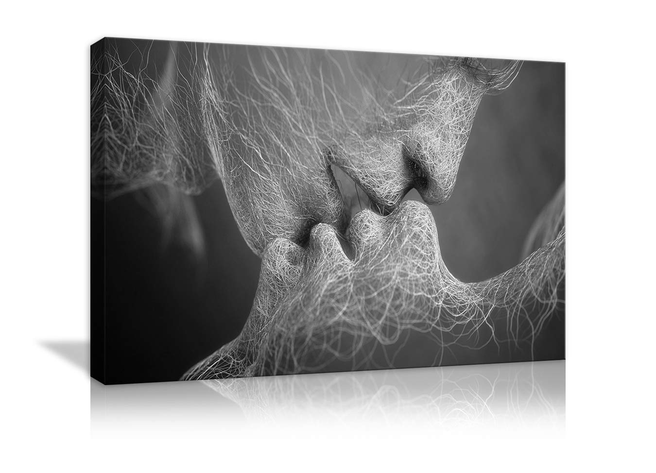 Amemny Wall Decor Black And White Love Kiss Abstract Art On Canvas Painting Wall Art Adam And Eve Picture Print Modern Home Decor Framed Ready To Hang