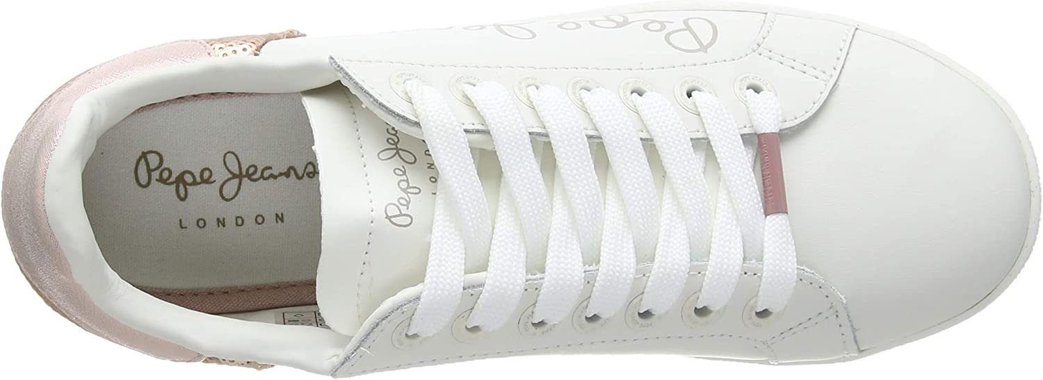 Pepe Jeans Damen Brompton Sequins Sneaker Rot Washed Rose 313