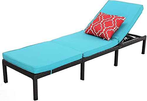 Do4U Outdoor Patio Chaise Lounge Chair- Adjustable Pool Lounge Chair Patio Furniture Wicker Couch Bed with Turquoise Thick Cushion Expresso Rattan PE Wicker Steel Frame Turquoise