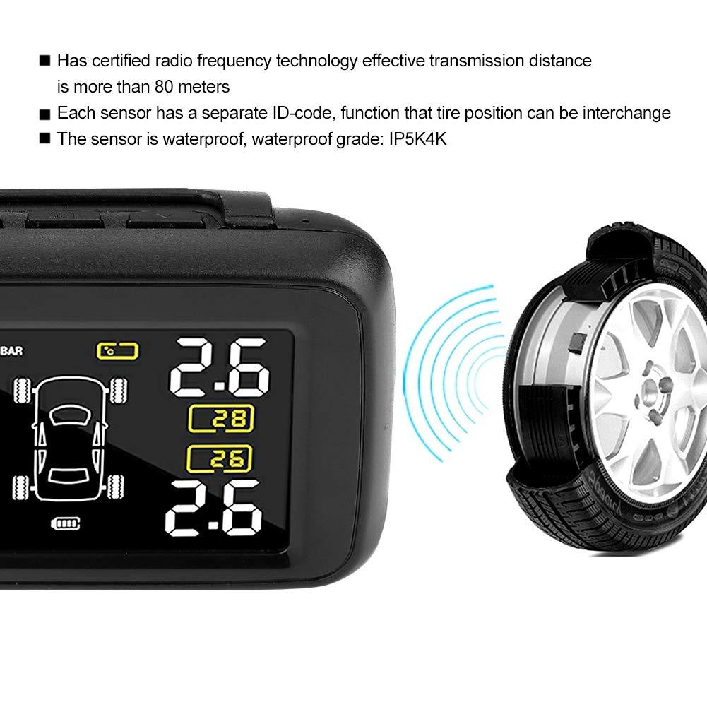sistema di monitoraggio della pressione dei pneumatici TPMS wireless solare U901L-WF con 4 sensori esterni EBTOOLS Car TMPS