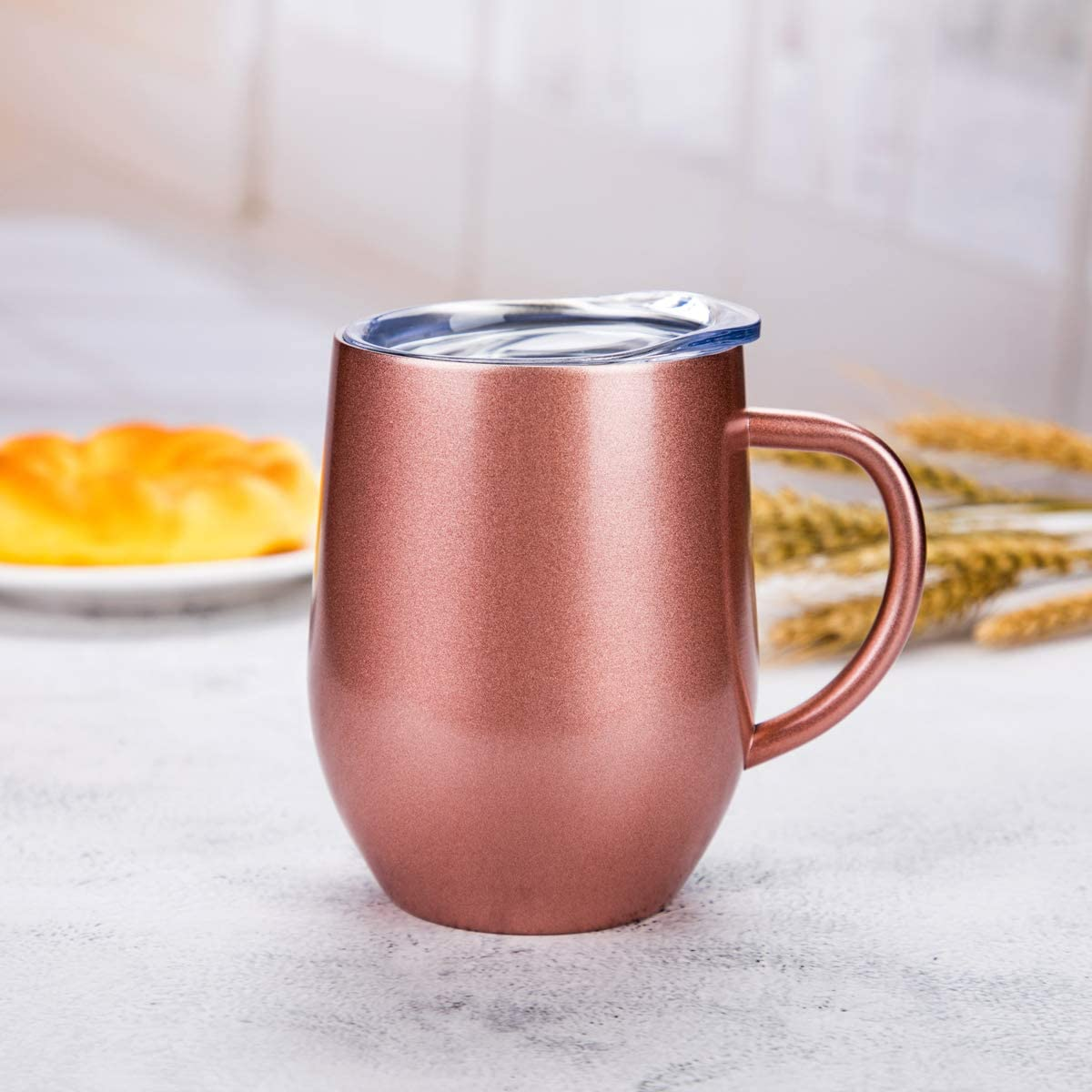 FLY SPRAY Egg Shape Stainless Steel Cup Thermos Coffee Mug Insulated Double Wall with Lid Handle For Water Tea Ice Drink /& Hot Beverage Home Office Car Travel School Use Unique Creative,12oz Rose Gold