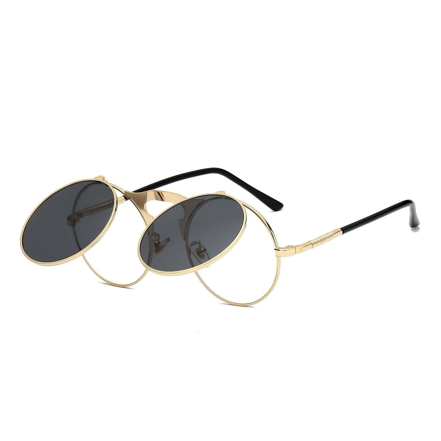 VeBrellen Retro Men Glasses Round Flip-Up Steampunk Sunglasses Clamshell Metal Frame Sunglasses (Gold Frame With Gray Lens, 46)