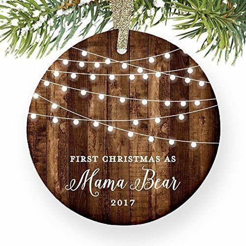 Mama Bear Gifts, 1st Christmas as a Mother Ornament, New Mom Newborn Baby Pregnant Pregnancy Dated Rustic Xmas Farmhouse Collectible Present 3