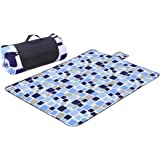 "Sotical Veamor Picnic Blanket, Extra Large 79"" x 79"" Outdoor Blanket Triple Layers, Portable camping Mat with Soft Fleece, Waterproof, Sandproof &moistureproof Beach Blanket Tote for Camping, Beach"