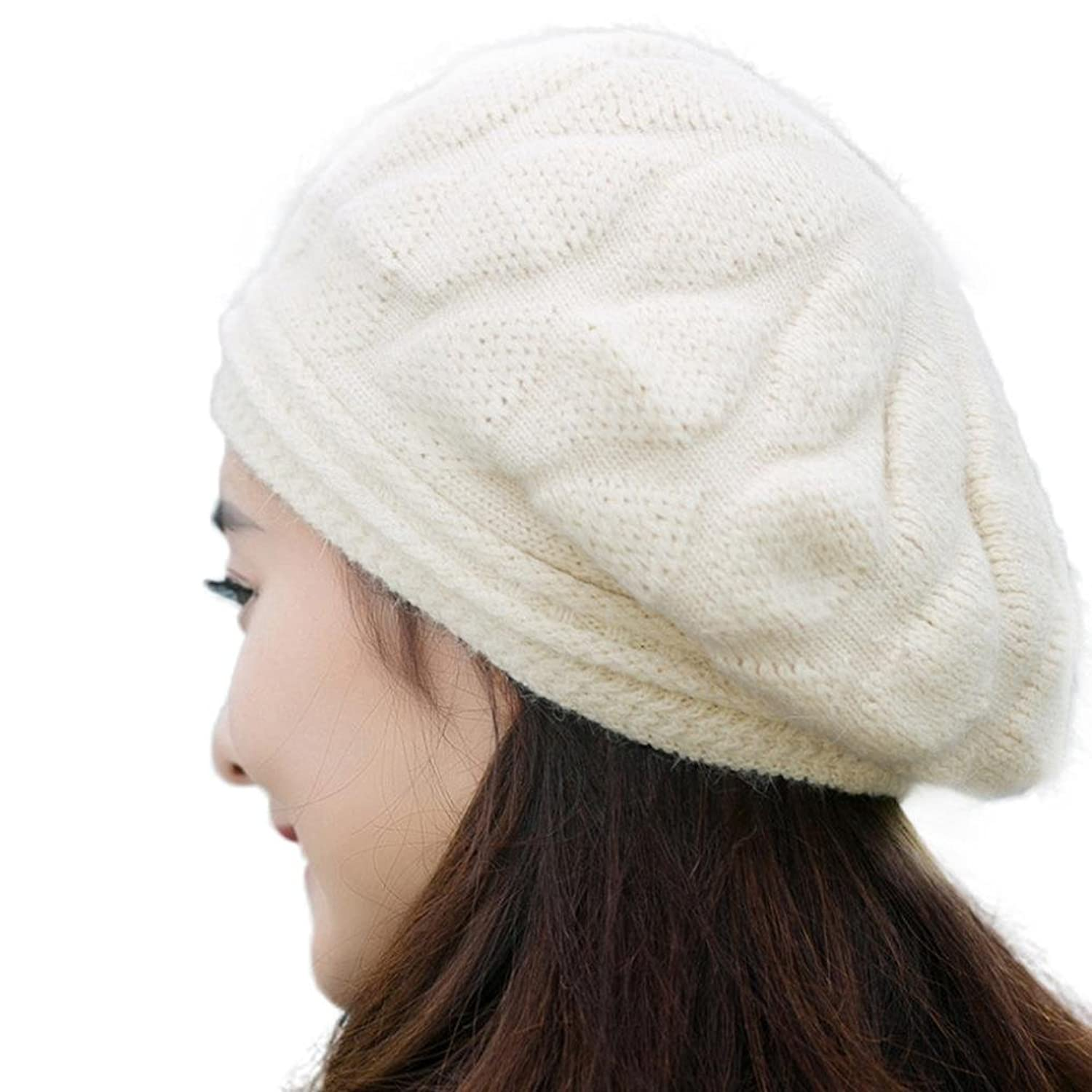 Elaco Women Ladies Beret Winter Warm Beanie Knit Crochet Hat Ski Cap(Beige)