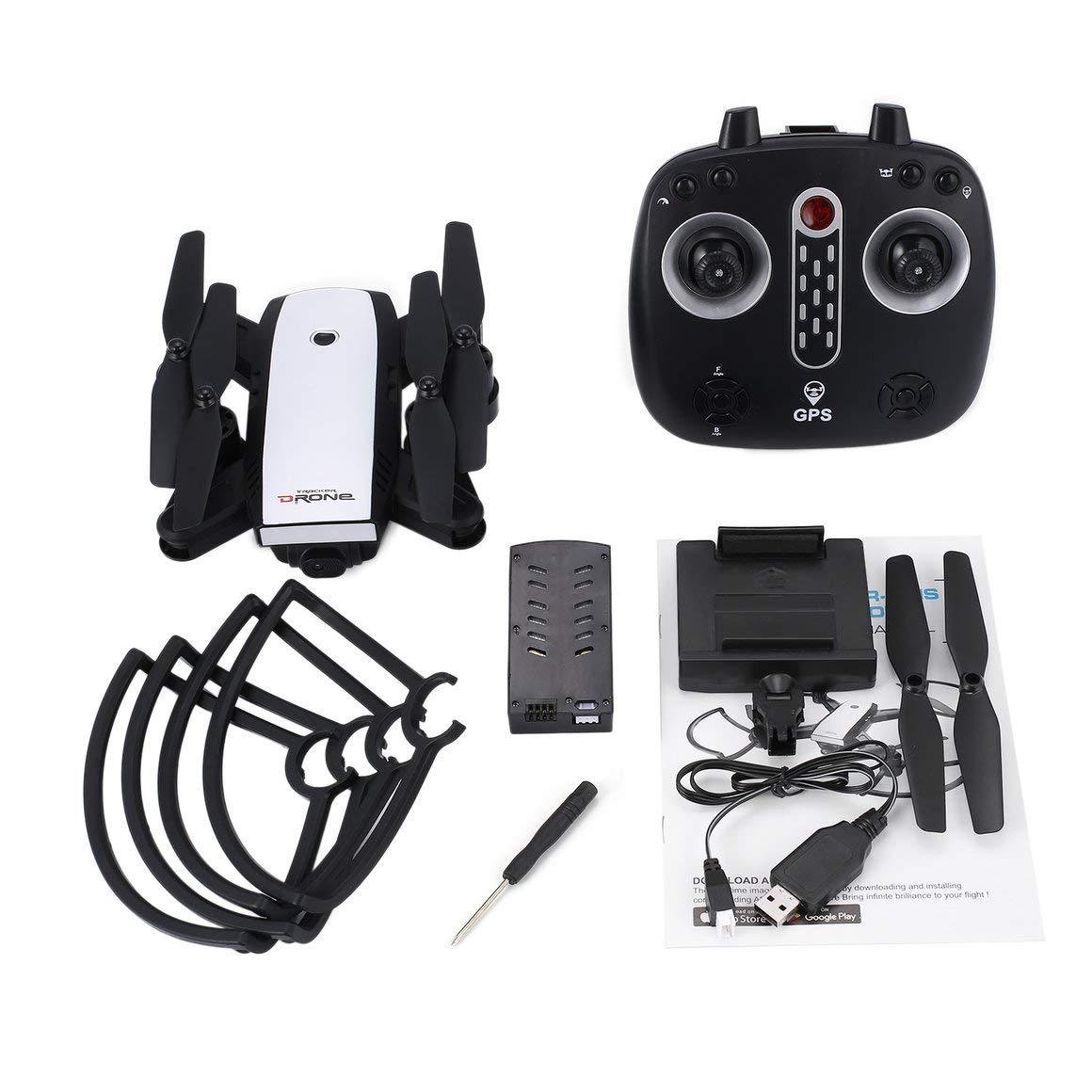 Funnyrunstore X28 2.4G FPV Pliable GPS Drone RC Quadcopter avec caméra 720p HD Ajustable Altitude Hold en Temps réel Suivez-Moi (Blanc)
