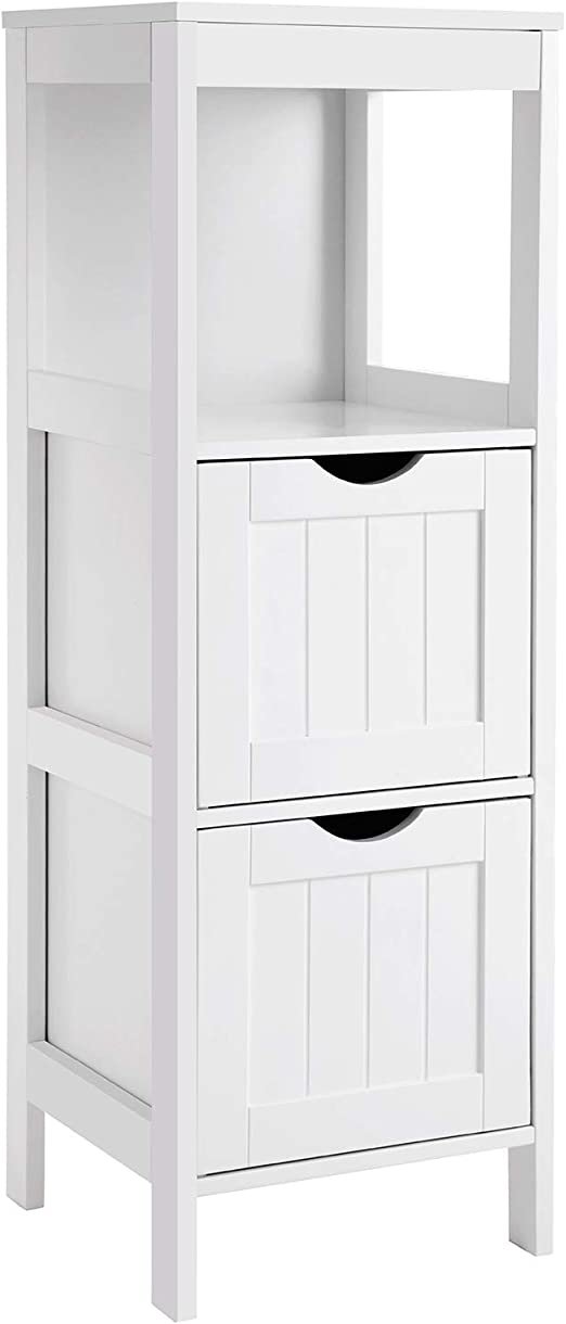 Amazon Com Vasagle Floor Cabinet Multifunctional Bathroom Storage Organizer Rack Stand 2 Drawers White Home Kitchen