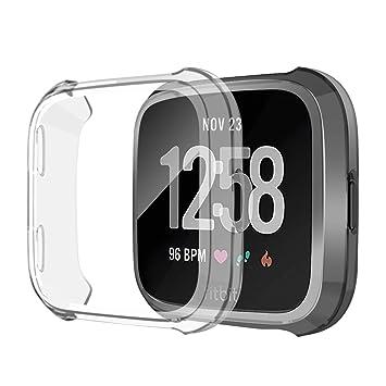 SYOSIN Compatible con Fitbit Versa Protector Pantalla Funda Suave TPU Cubierta Completa para Fitbit Versa Smartwatch (Claro)