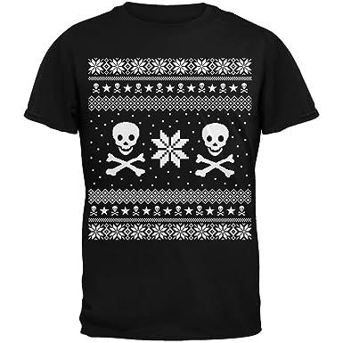 Amazon.com: Skull & Crossbones Ugly Christmas Sweater Black T ...
