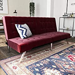 The Emily futon is a striking piece that blends a modern look with a low-profile style. The tufted upholstery adds a classic touch and is available in faux leather, linen and velvet in a variety of colors. Plus the chrome legs add an exciting...