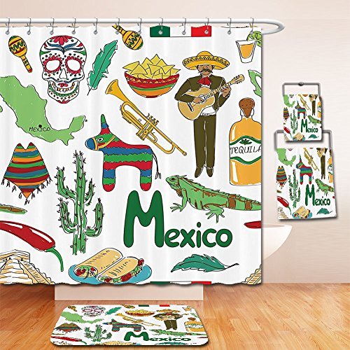 LiczHome Bath Suit: Showercurtain Bathrug Bathtowel Handtowel Meican Decorations Collection Fun Colorful Sketch Meico Chili Pyramid Nachos Cactus Music Poncho Image Polyester Fabric Green Olive Mustar (Chevron Flower Girl Basket)