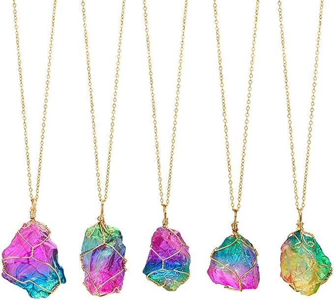 VJGOAL Damen Halskette, Mädchen Mode Regenbogen Stein natürlichen Kristall Rock Halskette vergoldetem Quarz Anhänger Geschenk der Frau (1 PC, Gefärbt)