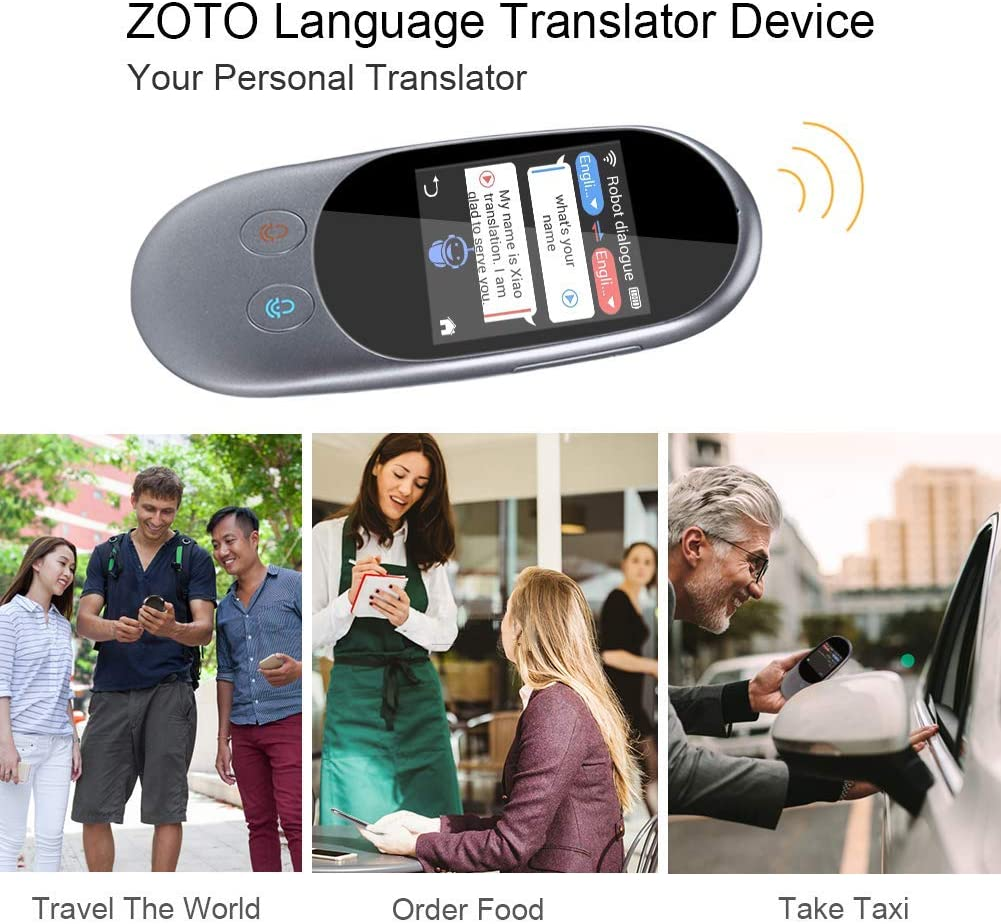 Two Way WiFi//Hotspot//Offline Instant 2.4 Inch Touch Screen Support 42 Languages Pocket Voice//Text//Recording//Photo Camera Translation Travel SUNGLIFE Smart Language Translator Device