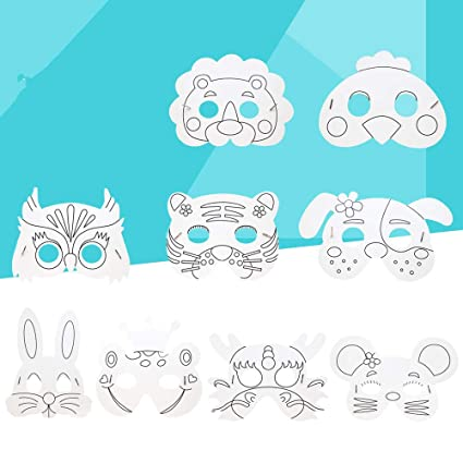 Amazon com: TOYANDONA Kids DIY Animal Mask Craft Blank Masks Cosplay