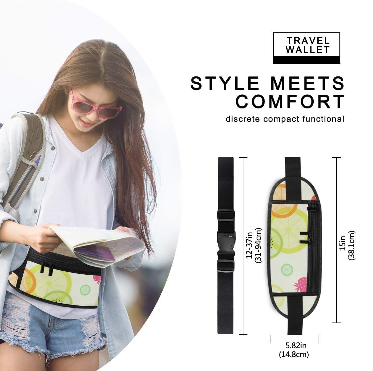 Travel Waist Pack,travel Pocket With Adjustable Belt Fruit Pattern Strawberry Orange Lemon Kiwi Running Lumbar Pack For Travel Outdoor Sports Walki