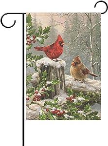 TSENQUE Bird Season Garden Flag, Cardinal Red Bird Snow Double Sided Burlap Welcome Flag Small Yard Garden Flags for Outside 12 x 18Inch