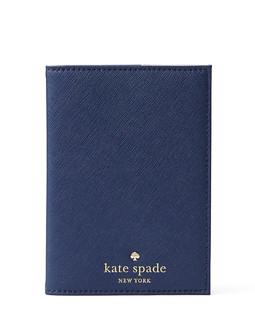 Kate Spade New York Mikas Pond Leather Passport Holder (Sapphire)