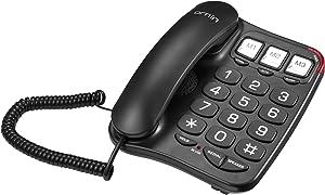 Ornin S016+ Big Button Corded Telephone with Speaker, Desk Phone (Black)