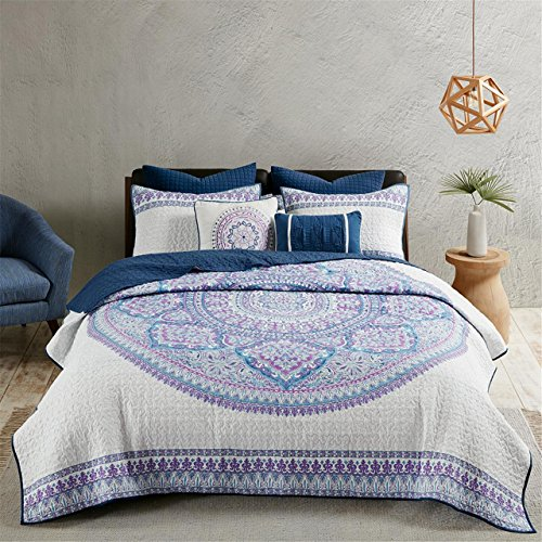 Urban Habitat Coletta Full/Queen Girls Quilt Bedding Set - Purple, Bohemian Medallion – 7 Piece Teen Girl Bedding Quilt Coverlets – 100% Cotton Bed Quilts Quilted ()