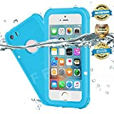 EFFUN Waterproof iPhone 5/5S/SE Case, IP68 Certified Waterproof Underwater Cover Dustproof Snowproof Shockproof Case with Cell Phone Holder, PH Test Paper, Stylus Pen and Floating Strap Light Blue