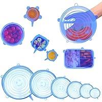 Tapas Elásticas de Silicona - 6 Piezas Envoltura Plástica Reutilizable Alternativa para Cubetas y Recipientes de…