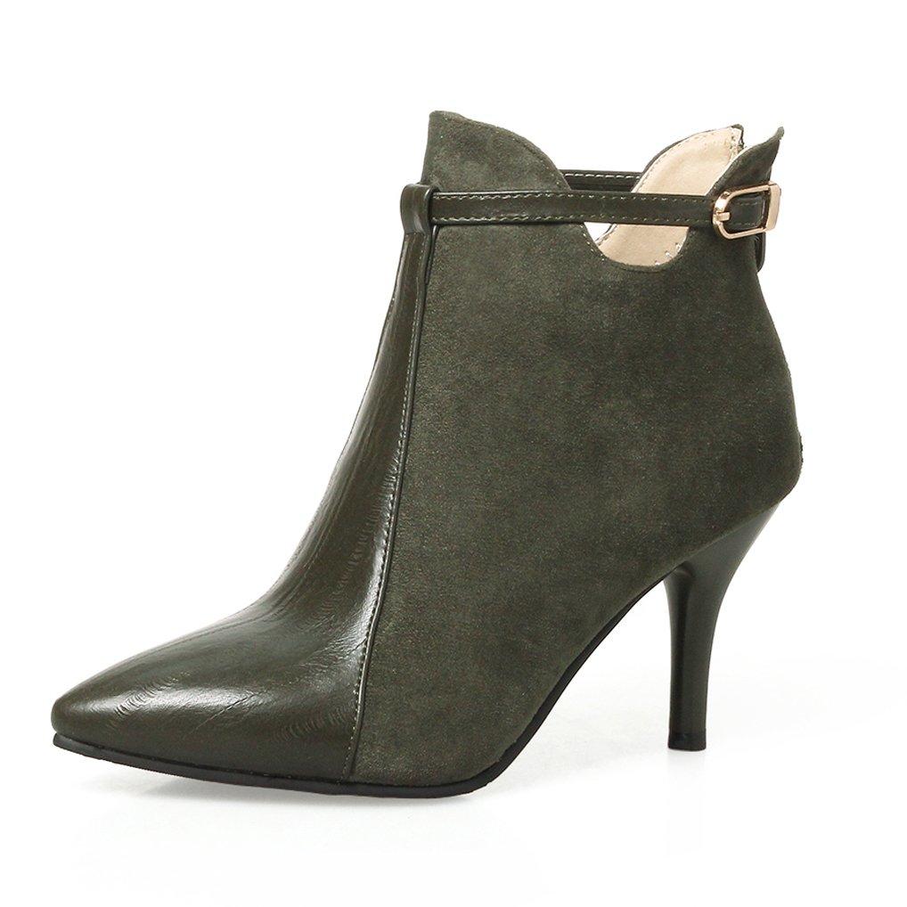 OALEEN B00ZP324CO Bottines Femme Boots Élégante Talon Haut Aiguille BI-Matière Haut Aspect Cuir Chaussures Boots Vert olive 603e220 - reprogrammed.space