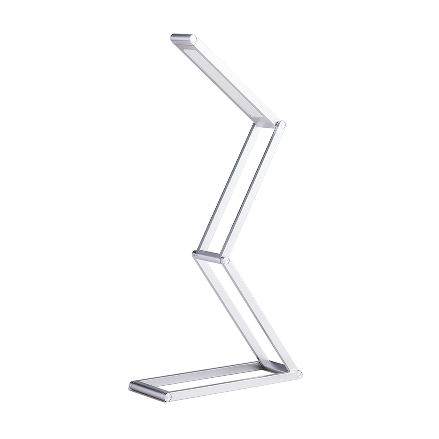 CO-Z 3 Brightness Levels LED Dimmable Desk Reading Lamp, Portable Folding USB Aluminum Alloy Table Lamp (Silver) for Bedroom Office Camping Traveling or Birthday Present/Gift