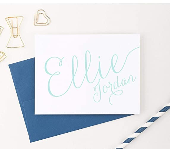 calligraphy personalized stationery modern calligraphy folded note cards personalized note cards your choice - Personalized Folded Note Cards