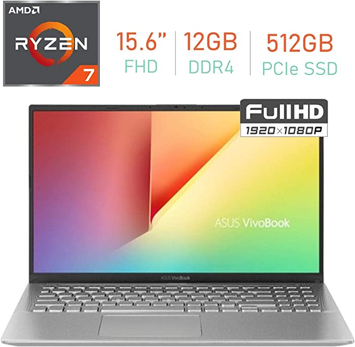 "ASUS VivoBook 15.6"" FHD (1920 x1080) Display Laptop PC, AMD Ryzen 7 3700U Processor, 12GB DDR4, 512GB PCIe SSD, Bluetooth, Webcam, HDMI, WiFi, AMD Radeon RX Vega 10 Graphics, Windows 10 Home"