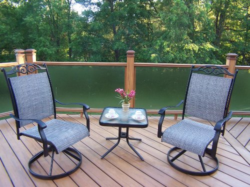 Oakland Living Cascade 3-Piece Black Swivel Chat Set with 2 Swivels and 20-Inch End Table