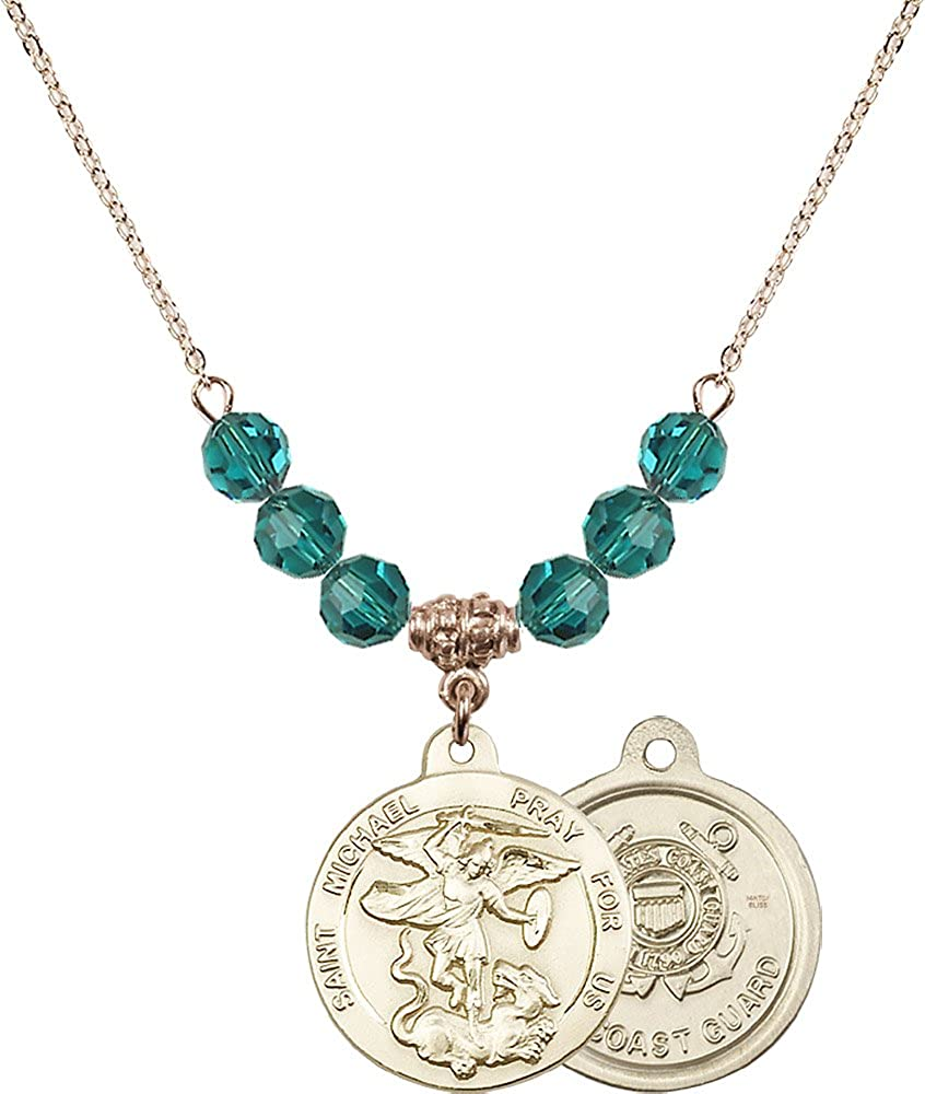 Coast Guard Charm. 18-Inch Hamilton Gold Plated Necklace with 6mm Zircon Birthstone Beads and Gold Filled Saint Michael