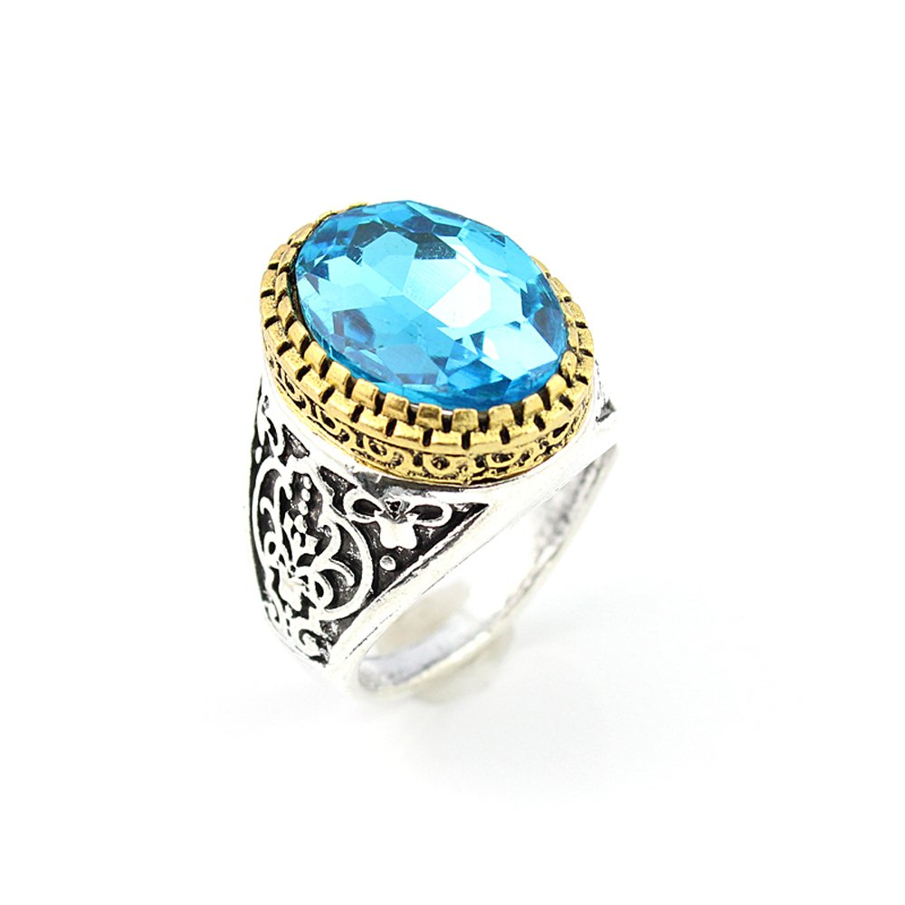 BEST QUALITY BLUE TOPAZ FASHION JEWELRY SILVER PLATED AND BRASS RING 7.5 S22900
