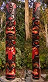 Tiki Tongue Totem 3 face Tribal Wood Wall Mask Patio Tropical Bar Decor 60''