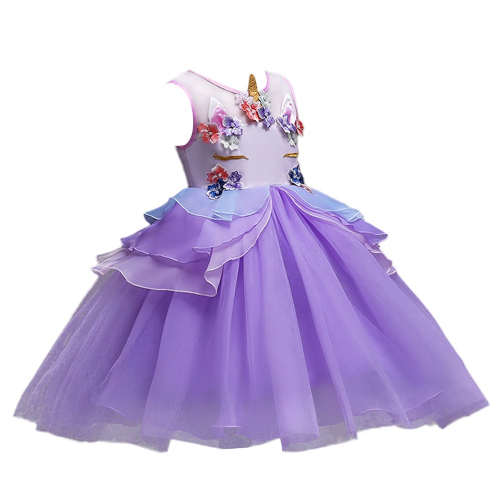 ee65dac1a18df Little Girls Kids Flower Unicorn Birthday Halloween Cosplay Fancy Costume  Tutu Dress up Lace Tulle Pageant Party Princess Dance Evening Gown Outfits  ...