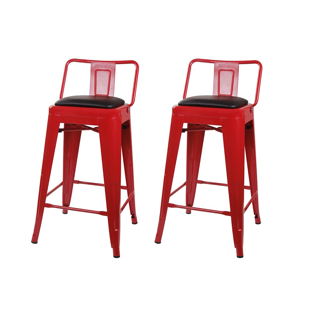 GIA 24-Inch Low Back Stool with Faux Leather Seat, Red Black, 2-Pack