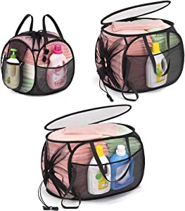 TENRAI 3 PCS Mesh Pop-Up Laundry Hamper with Side Zipper & Drawstring Closure, Sturdy Handles and Convenient Side Pocket, Machine Washable, Collapsible Laundry Basket Suitable for Home or Travel