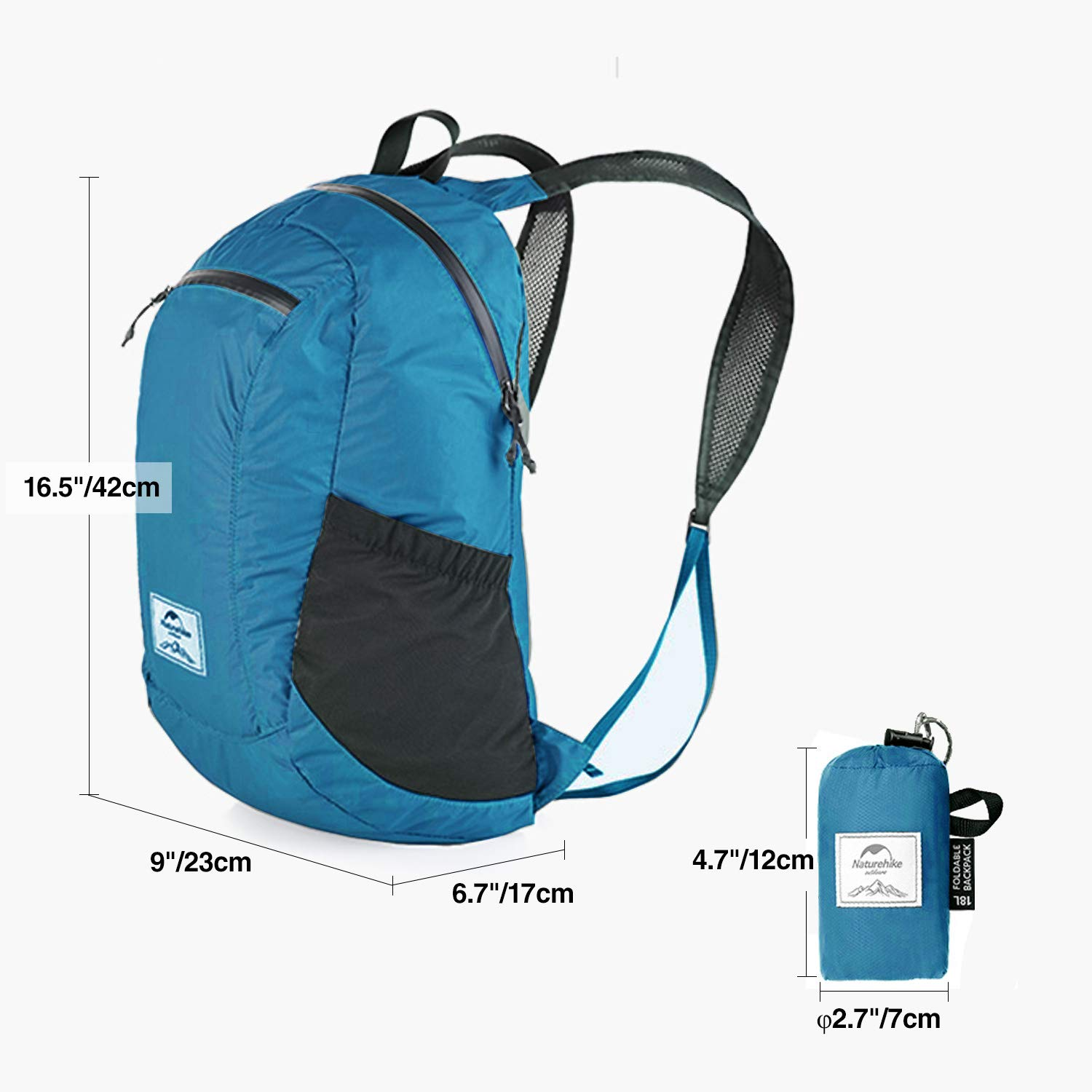 Collapsible Nylon Daypack Great for Outdoor Hiking Travel REDCAMP 18L Waterproof Ultralight Packable Backpack Blue