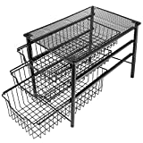 3S Stackable 3 Tier Sliding Basket Organizer Drawer, Cabinet Storage Drawers,Balck …