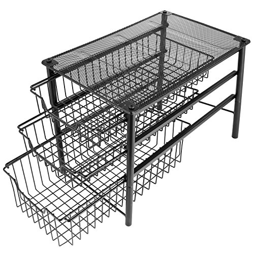 3S Stackable 3 Tier Sliding Basket Organizer Drawer, Cabinet Storage Drawers