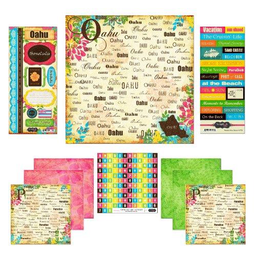 Scrapbook Customs Themed Paper and Stickers Scrapbook Kit, Oahu Paradise (Paper Scrapbook Tropical)