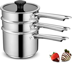 Mr. Right Double Boiler Pot for Melting Chocolate,Stainless Steel Steamer Set with Glass Lid for Candle Making - Clear View while Cooking,Dishwasher & Oven Safe 3 Qts & 4 Pieces