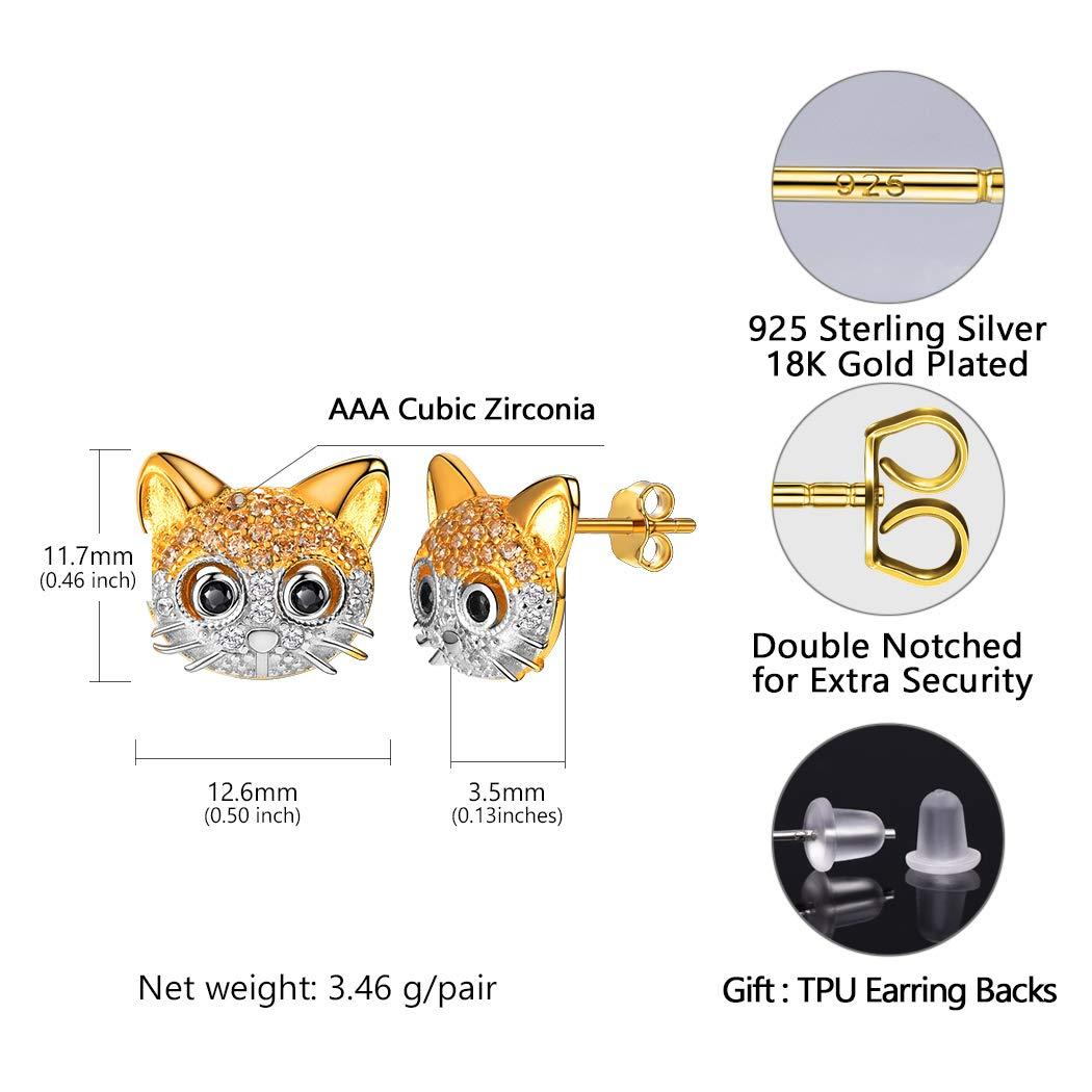 U7 Cute Cat Ear Pendant Platinum//18K Gold Plated Drop Earrings With Rhinestone